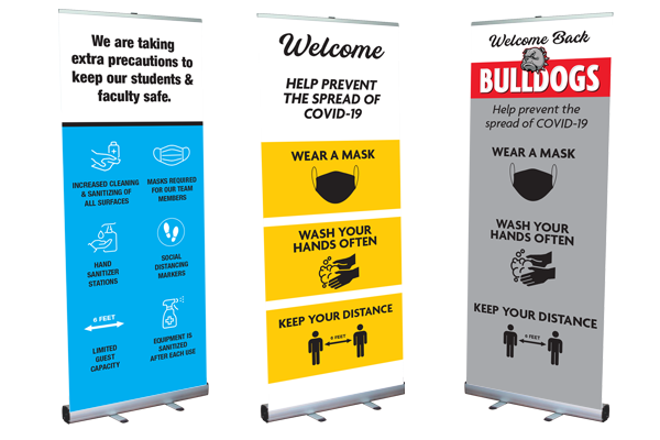 Covid Safety Banner Stands for Schools